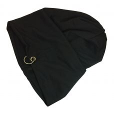 Solid Black High Quality Polyster Beanie with Steel Ring