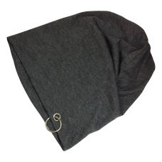 Solid Charcoal Grey High Quality Polyster Beanie with Steel Ring