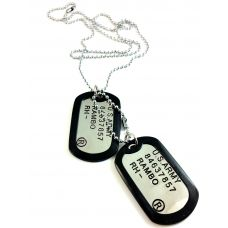Classic Military Dog Tag Necklace with Ip Silicon steel ball chain For Men