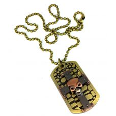 Pirate Skull Dog Tag Inspired Designer Necklace For Men