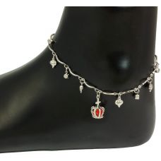 Proud Princess Red Stone German Silver Anklet