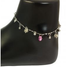 Carnation Pink Soliataire Sleek German Silver Anklet
