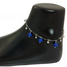 German Silver Indigo Blue Charms Sleek Anklet