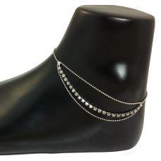 Channel Set CZ Stone German Silver Sleek Anklet
