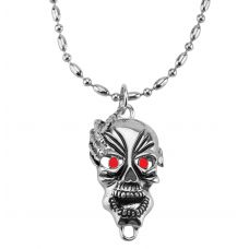 Tribal Mask Big and Bold Pendant with Metallic Beaded Ball Chain for Men