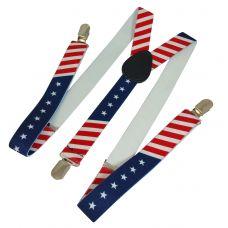 American Flag Printed Y-Back Suspenders for Men