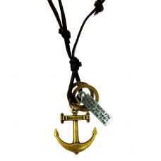 Anchor Adjustable Leather Necklace