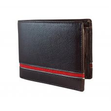 Red Stripe Genuine Leather Brown Wallet for Men