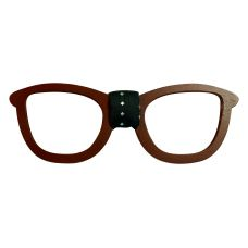 Men's Designer Wooden Brown Bow Tie in Spectacles Frame Shape