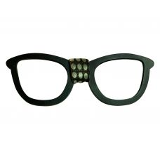 Men's Designer Wooden Bow Tie in Black Spectacles Frame Shape