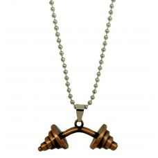 Metallic Brown Plated Dumbbell Pendant  for Men