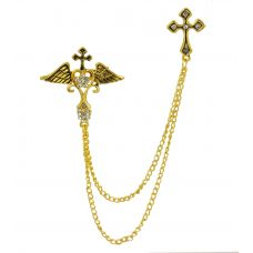 Gods and Angels Double Tassled Chain Lapel Pin Collar Stud Brooch for Men