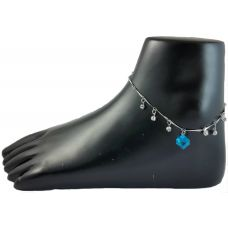 Zaffre Blue Cube German Silver Anklet