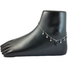 Midnight Black Cube German Silver Anklet