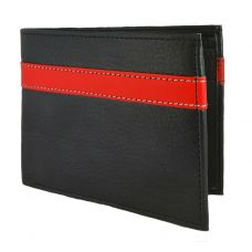Red Sripe High Quality PU Leather Black Wallet for Men