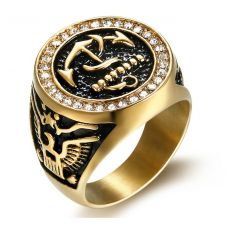 Anchor Insignia Bold and Beautiful 316L Stainless Steel Gold Foamed Biker Ring for Men
