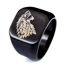 House Stark Gloss Black Enameled Premium Ring for Men