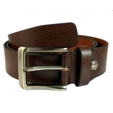 100% Genuine Leather Premium Executive Fine Textured Dots Brown Belt for Men