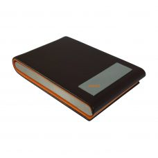 Chocolate Brown-Mustard Plush Faux Leather & Steel Vertical Card Holder (Visting/Credit/Debit/ID)