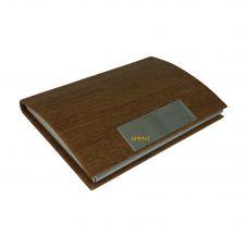 Chrome Plate Wooden Look Carob Brown Faux Leather & Steel Sleek Card Holder (Visting/Credit/Debit/ID)