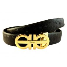 Gold Foamed Duo-Finish Buckle High Quality PU Leather Brown Belt for Men