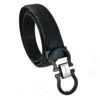 Jet Matte Black and Silver Central Badge Uber Sleek Buckle High Quality PU Black Belt for Men