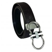 Electro-Silver  Central Badge Uber Sleek Buckle High Quality PU Brown Belt for Men