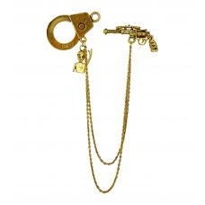 Gun & Handcuff Exclusive Tassled Chains Gold Foamed Brooch with  15 mm CZ Stone Lapel Pin for Men