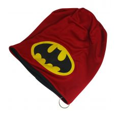 Fire Red Batman Printed Synthetic Fabric Uber Stylish Beanie Skull Cap with Steel Ring
