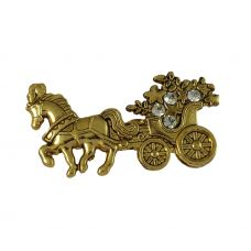 Gold Plated Royal Chariot Exclusive Brooch Lapel Pin Shirt Stud for Men