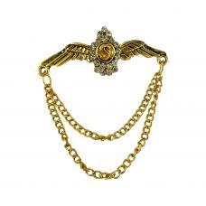 Embellished Gold Plated Open Wings Duo Tassled Chains Exclusive Brooch Lapel Pin Shirt Stud for Men