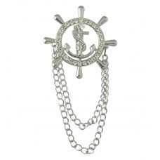 Silver Colored Anchor and Wheel Charm  Duo Tassled Chains Exclusive Brooch Lapel Pin Shirt Stud for Men