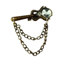 10 mm Inlaid Faux Crystal Stone Duo Tassled Chains Guitar Brooch Lapel Pin Shirt Stud for Men