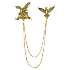 Royal Hawks Exclusive Tassled Chains Gold Foamed Brooch Lapel Pin for Men