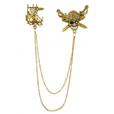 Pirate Affairs Exclusive Tassled Chains Gold Foamed Brooch Lapel Pin for Men