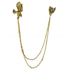 Proud Wings Exclusive Tassled Chains Gold Foamed Brooch Lapel Pin for Men