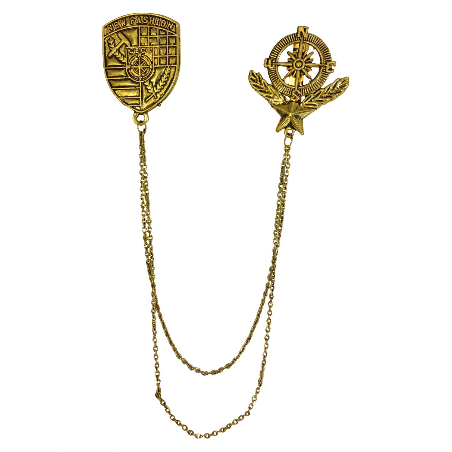Exclusive Veteran Badge Tassled Chains Gold Foamed Brooch