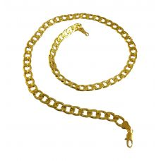 18.5 '' Engraved Cuban Links Exclusive Luxury Gold Foamed Necklace for Men
