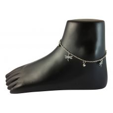 Open Wings Alloy G-Silver Anklet With Sweet Sonic Ankle Bell-Single Piece Only