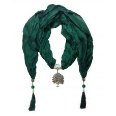 Delightful CZ Studded Peacock Pendant Algae Green Scarf Necklace for Women