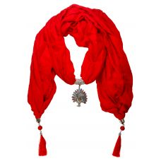 Delightful CZ Studded Peacock Pendant Fire Red  Scarf Necklace for Women