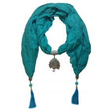 Delightful CZ Studded Peacock Pendant Cerulean Blue Scarf Necklace for Women