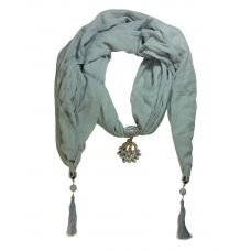 CZ Studded Rhodium Plated Gracious Peacock Pendant Pastel Grey Scarf Necklace for Women
