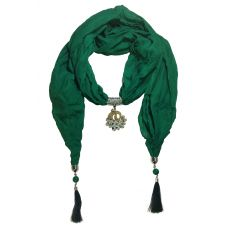 CZ Studded Rhodium Plated Gracious Peacock Pendant Jade Scarf Necklace for Women