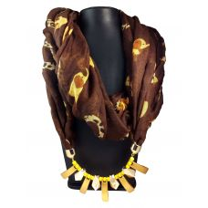 Stones and Bars Attractive Coffee Brown Multi color Animal Pattern Scarf Necklace for Women