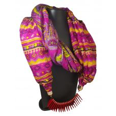 Stringed Chipped Lockets Vibrant Aztec Pattern Scarf Necklace for Women