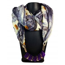 Exotic Hues  Purple  Charm Lockets  Pastel Purple Based Abstract Pattern Attractive Scarf Necklace for Women