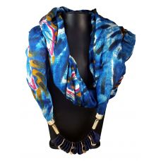 Exotic Hues  Navy Blue Charm  Lockets  Pastel Blue  Based Abstract Pattern Attractive Scarf Necklace for Women