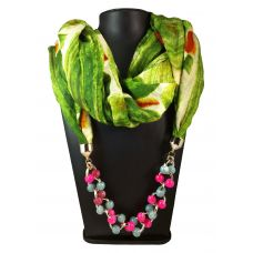 Pink-Grey Candy Beads Charms Pastel Green Multi color Abstract Pattern Scarf Necklace for Women