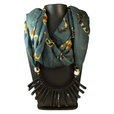 Spotted Black  Blunt Spikes Lockets Pastel Grey Multi color Animal Pattern Scarf Necklace for Women